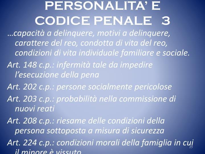 PERSONALITA' E