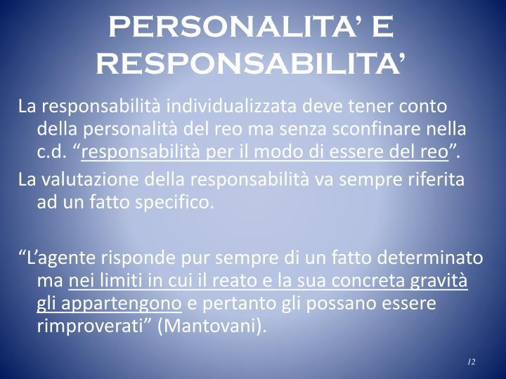 PERSONALITA' E RESPONSABILITA'