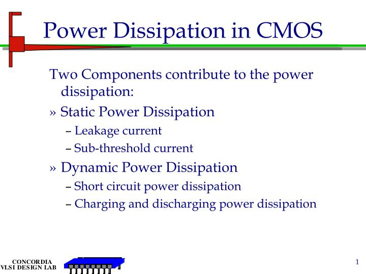 Power dissipation in cmos