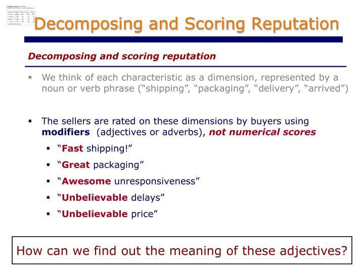 Decomposing and Scoring Reputation