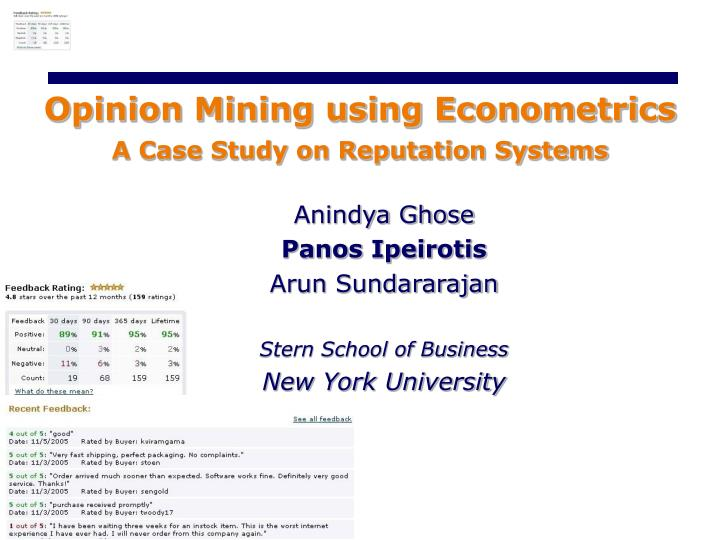 Opinion Mining using Econometrics