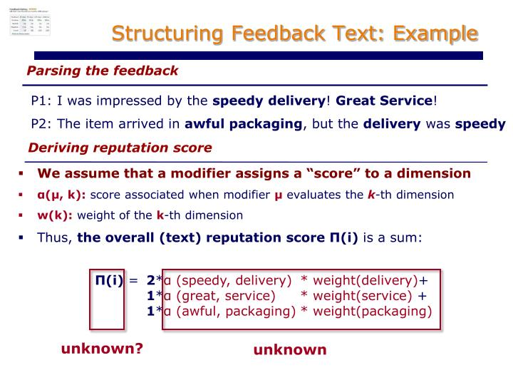 Structuring Feedback Text: Example
