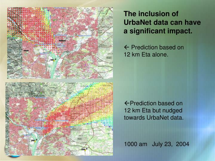 The inclusion of UrbaNet data can have a significant impact.