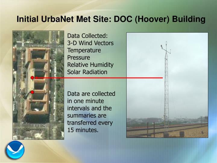 Initial UrbaNet Met Site: DOC (Hoover) Building