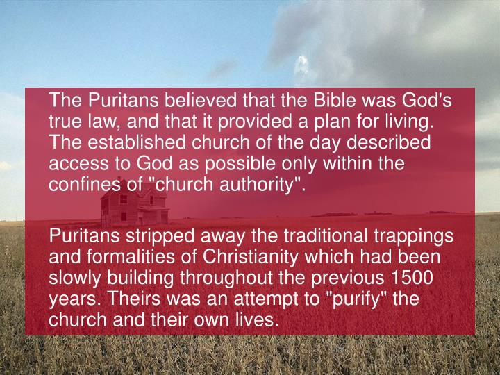 """The Puritans believed that the Bible was God's true law, and that it provided a plan for living. The established church of the day described access to God as possible only within the confines of """"church authority""""."""