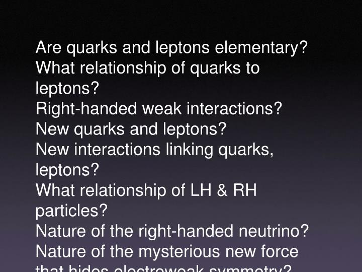 Are quarks and leptons elementary?