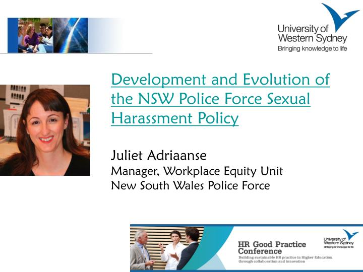Development and Evolution of the NSW Police Force Sexual Harassment Policy