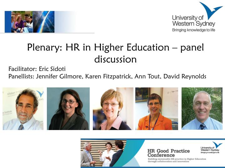 Plenary: HR in Higher Education – panel discussion