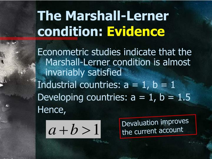 The Marshall-Lerner condition: