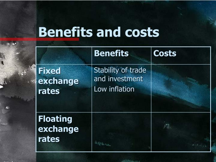 Benefits and costs