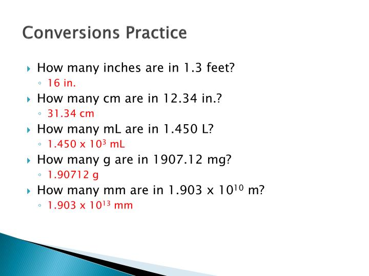 Conversions Practice