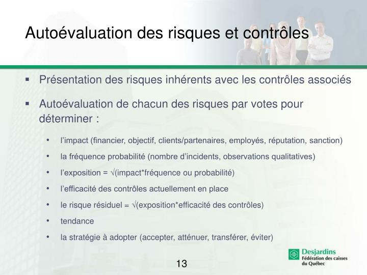 Autoévaluation des risques et contrôles