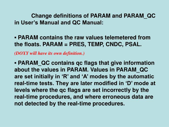 Change definitions of PARAM and PARAM_QC in User's Manual and QC Manual: