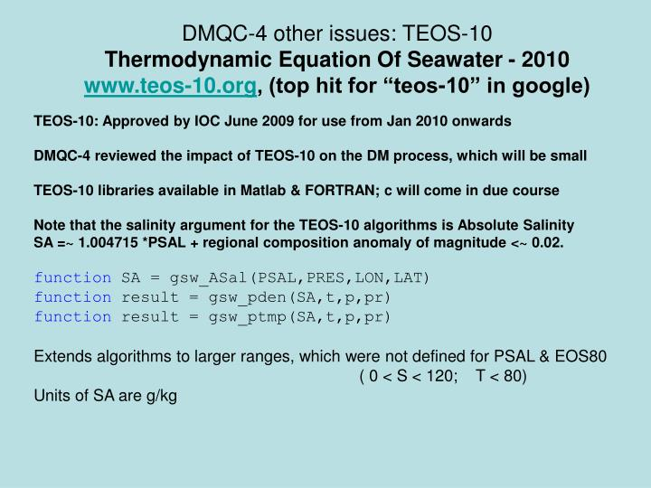DMQC-4 other issues: TEOS-10