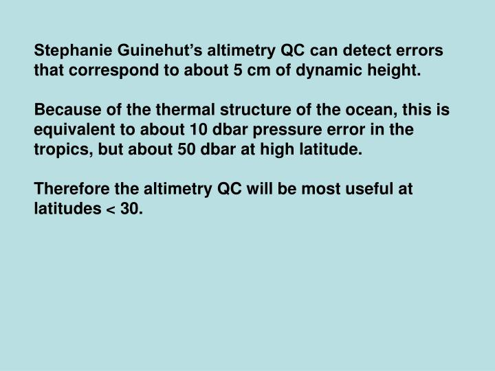 Stephanie Guinehut's altimetry QC can detect errors that correspond to about 5 cm of dynamic height.