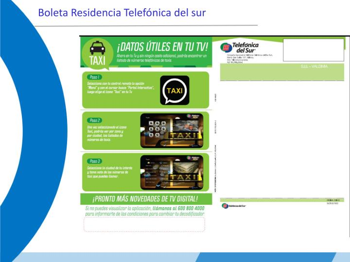 Boleta Residencia Telefónica del sur