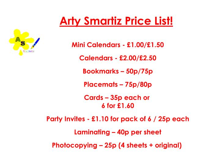 Arty Smartiz Price List!