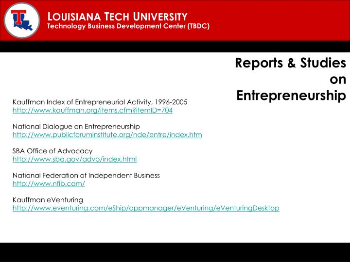 Reports & Studies on Entrepreneurship