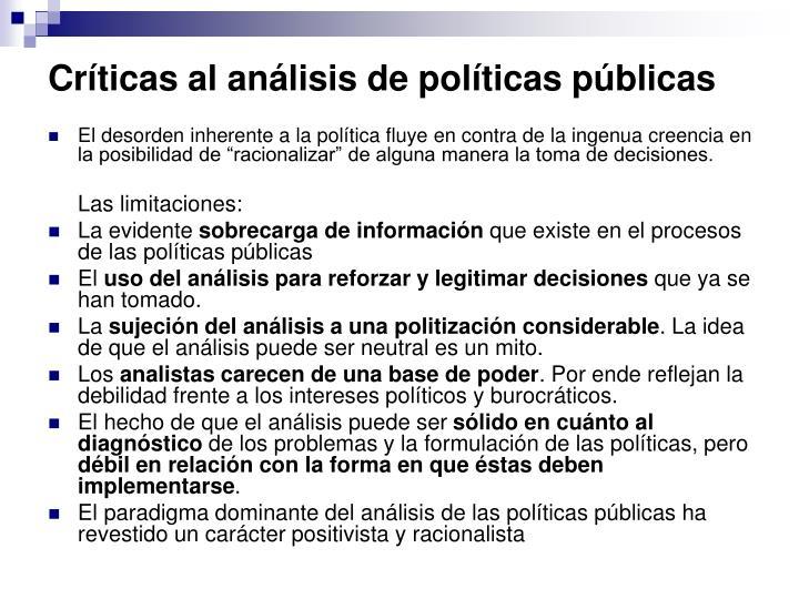 Críticas al análisis de políticas públicas