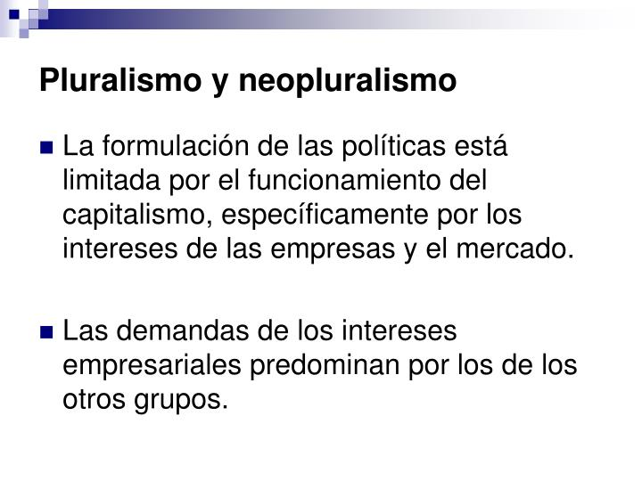Pluralismo y neopluralismo