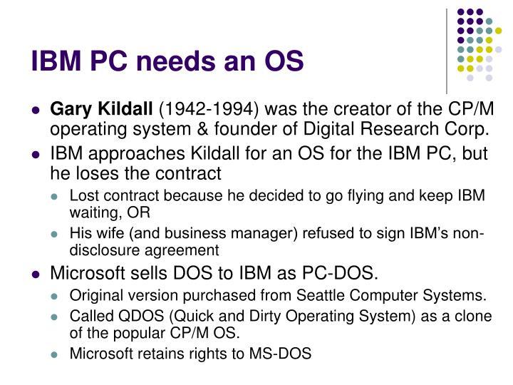 IBM PC needs an OS