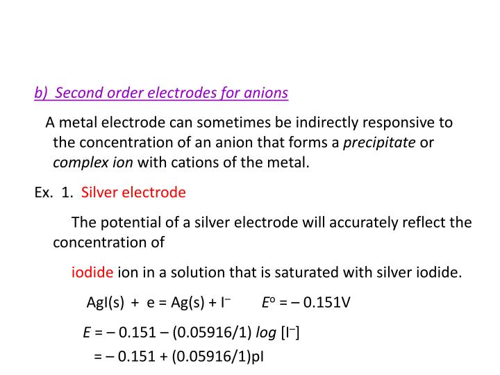 b)  Second order electrodes for anions