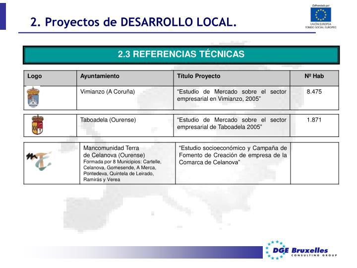 2. Proyectos de DESARROLLO LOCAL.