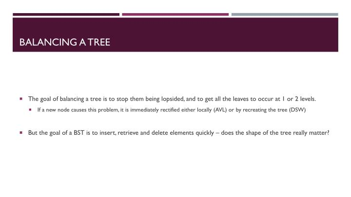 Balancing a tree