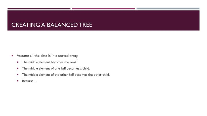 Creating a balanced tree