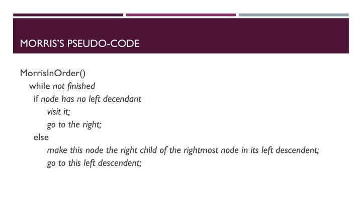 Morris's Pseudo-code