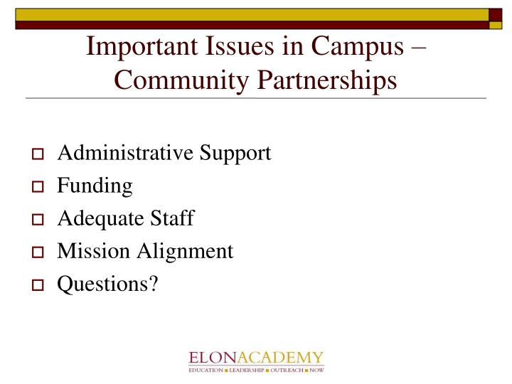 Important Issues in Campus – Community Partnerships