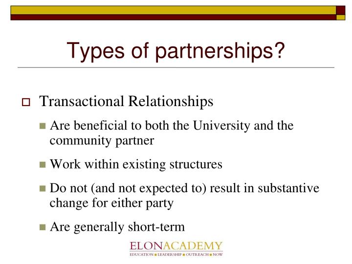 Types of partnerships?