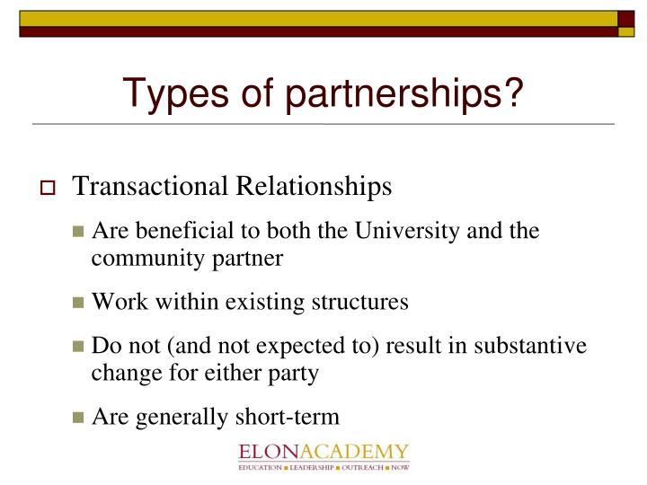 Types of partnerships?