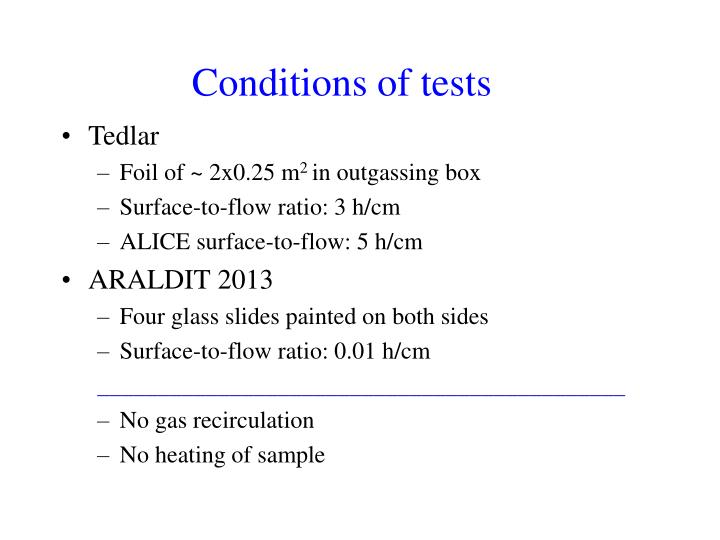 Conditions of tests