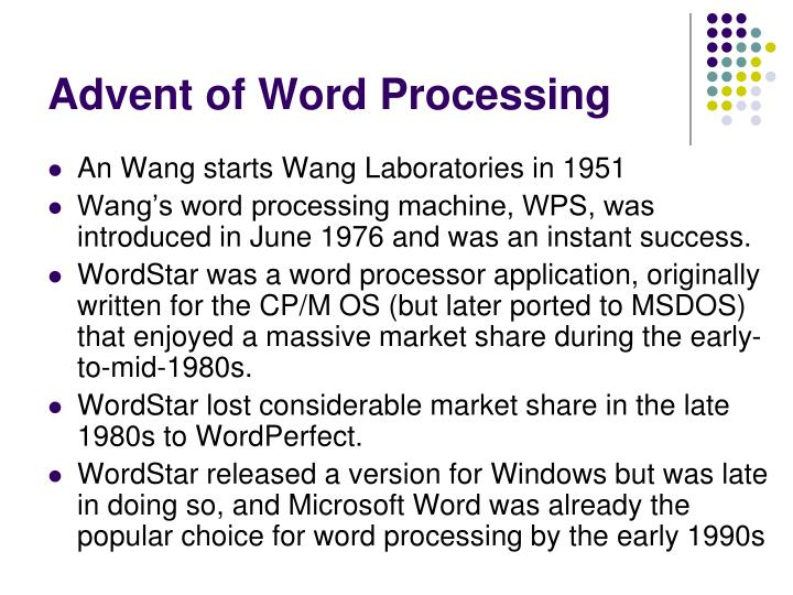 Advent of Word Processing