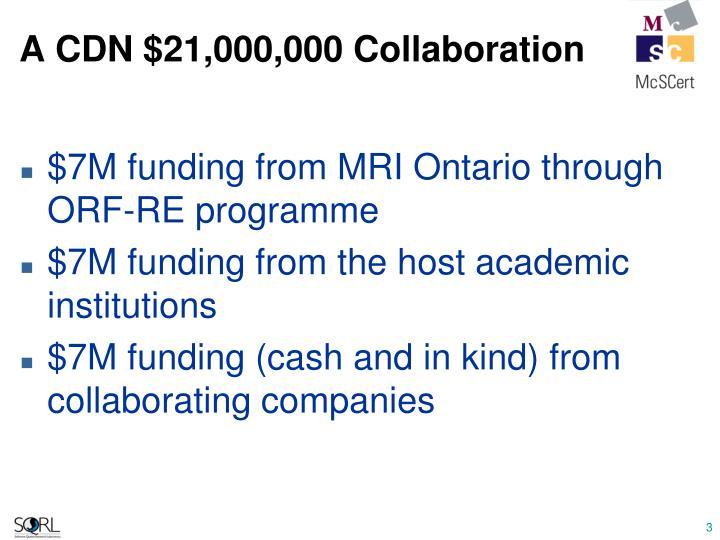 A CDN $21,000,000 Collaboration