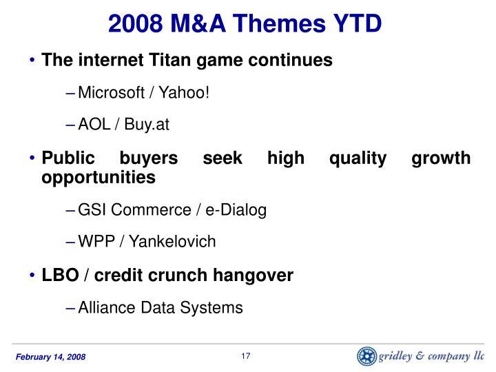 2008 M&A Themes YTD