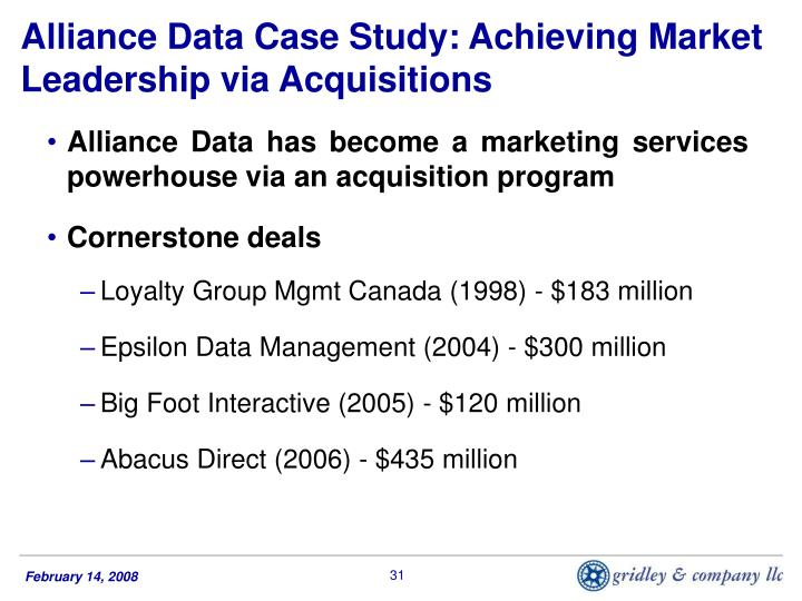 Alliance Data Case Study: Achieving Market Leadership via Acquisitions