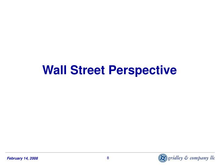 Wall Street Perspective