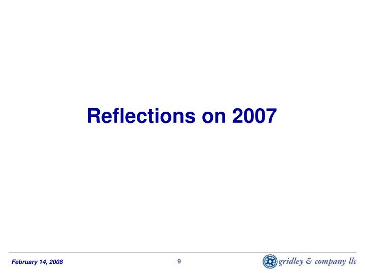 Reflections on 2007