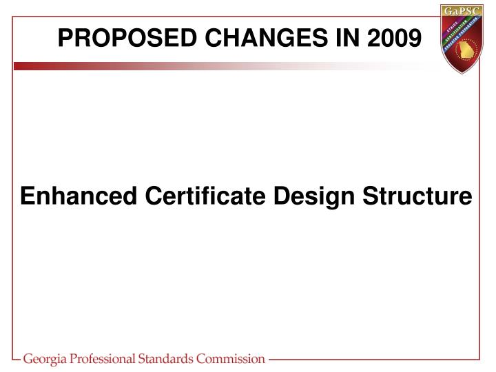 Proposed changes in 2009