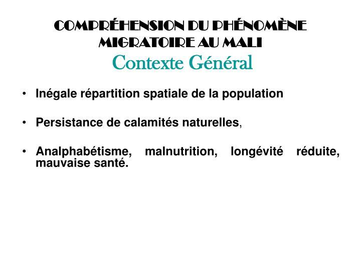 COMPRÉHENSION DU PHÉNOMÈNE MIGRATOIRE AU MALI