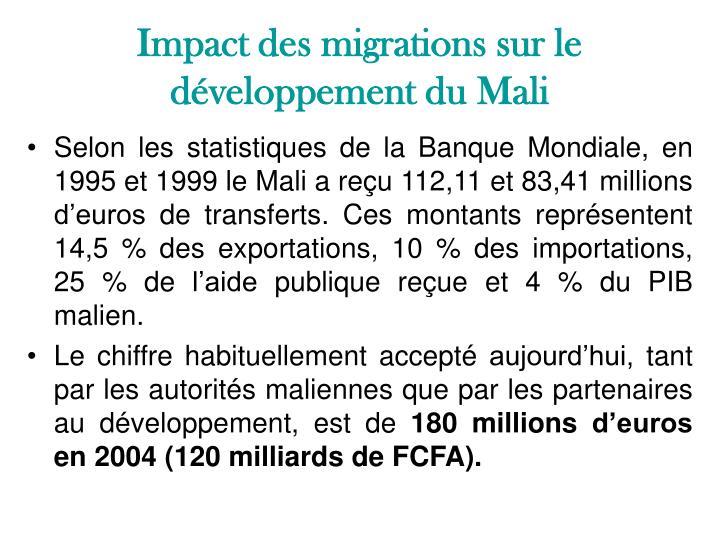 Impact des migrations sur le développement du Mali