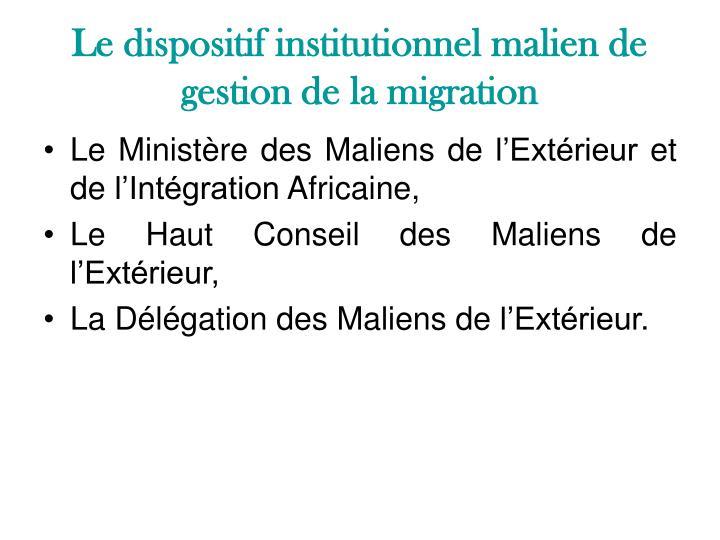 Le dispositif institutionnel malien de gestion de la migration