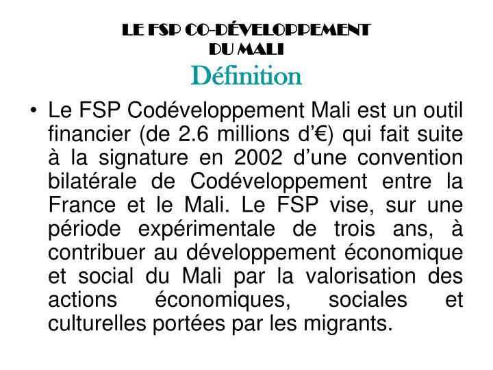 LE FSP CO-DÉVELOPPEMENT