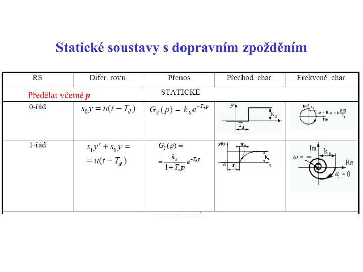Statické soustavy s dopravním zpožděním