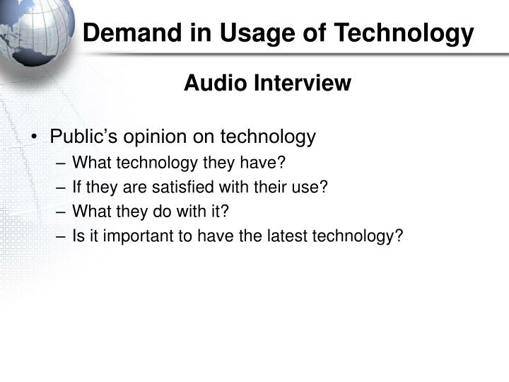 Demand in Usage of