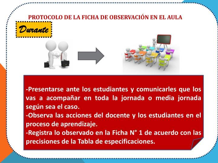 PROTOCOLO DE LA FICHA DE OBSERVACIÓN EN EL AULA