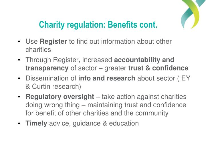 Charity regulation: Benefits