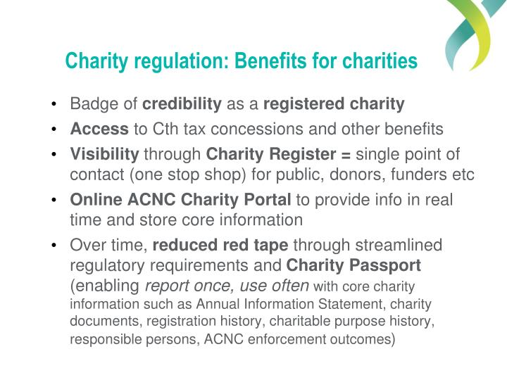 Charity regulation: Benefits for charities